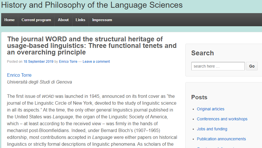 A post in 'History and Philosophy of the Language Sciences'